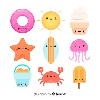 Collezione di simpatici personaggi kawaii estivi