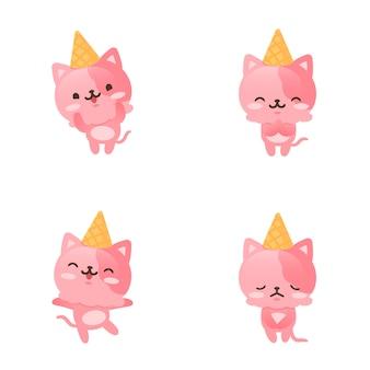Collezione di simpatici personaggi mascotte gattino gelato