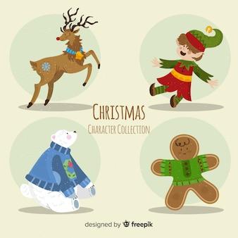 Collezione di simpatici personaggi natalizi in design piatto