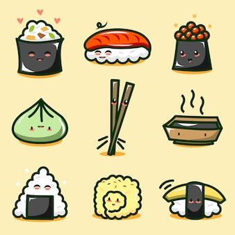 Collezione di simpatici sushi