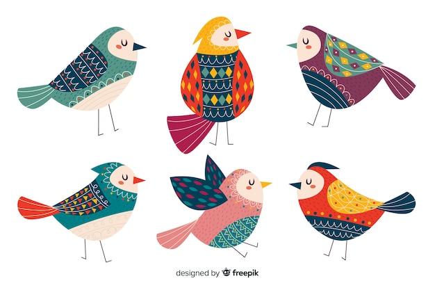 Collezione di simpatici uccelli disegnati a mano