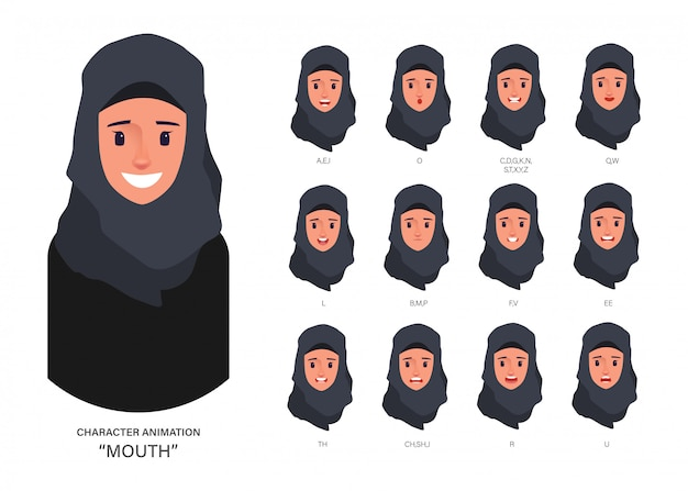 Collezione di sincronizzazione labiale araba o musulmana per il personaggio di animazione della bocca.