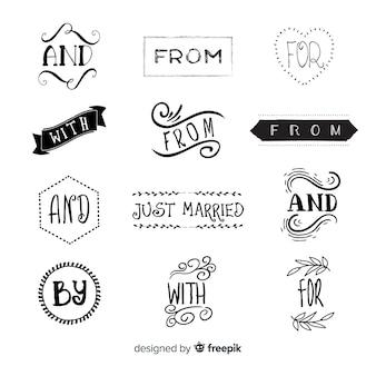 Collezione di slogan matrimonio disegnati a mano