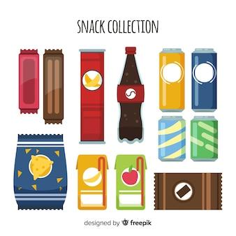 Collezione di snack colorati con design piatto