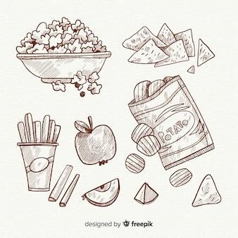 Collezione di snack disegnati a mano deliziosi