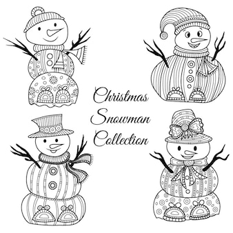 Collezione di snowmans in bianco e nero