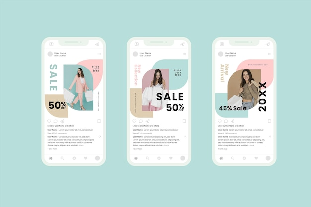 Collezione di social media modello vendita organica