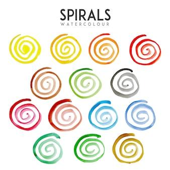 Collezione di spirali di acquerello