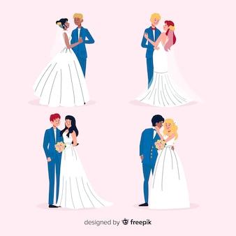 Collezione di sposi disegnati a mano