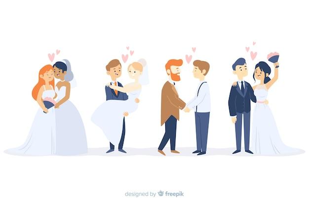 Collezione di sposi su design piatto