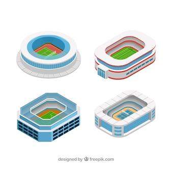 Collezione di stadi in stile isometrico