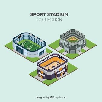 Collezione di stadi sportivi in stile isometrico
