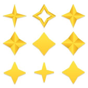 Collezione di stelle a quattro punte