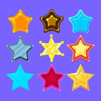 Collezione di stelle colorate a cinque punti per cartoni animati per premi, bonus e adesivi per videogiochi flash