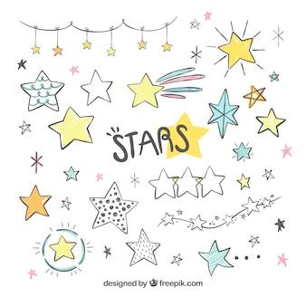 Collezione di stelle disegnata a mano