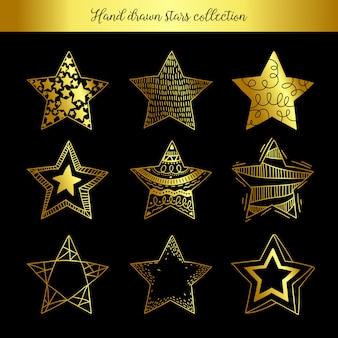 Collezione di stelle disegnate a mano
