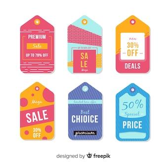 Collezione di stile piatto di etichette di vendita