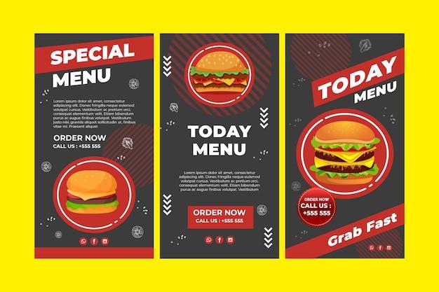 Collezione di storie di instagram di burger