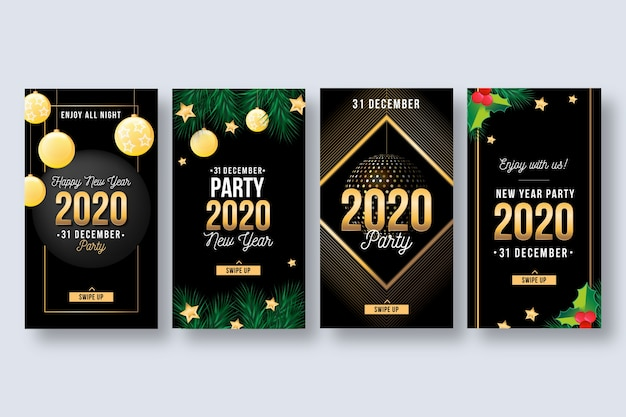 Collezione di storie di instagram per feste del nuovo anno 2020