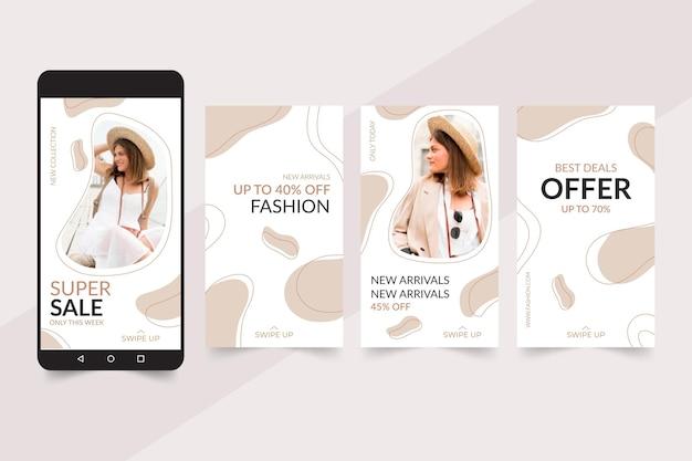 Collezione di storie di instagram per la vendita di moda