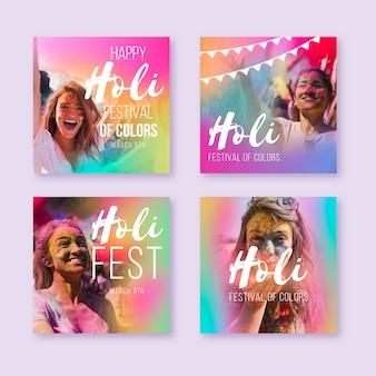 Collezione di storie di social media con gradiente colorato con ritratti femminili