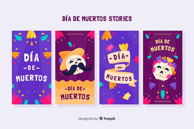 Collezione di storie instagram di dia de muertos