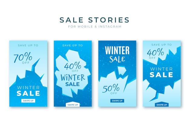Collezione di storie instagram di saldi invernali