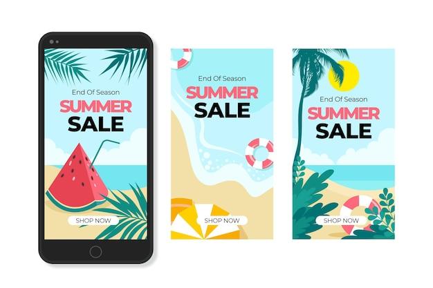 Collezione di storie instagram di vendita estiva di fine stagione