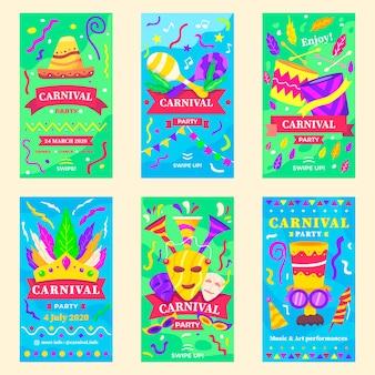 Collezione di storie instagram festa di carnevale