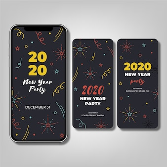 Collezione di storie instagram per feste del nuovo anno 2020