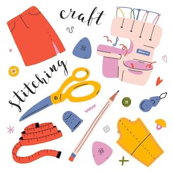 Collezione di strumenti per cucire e accessori