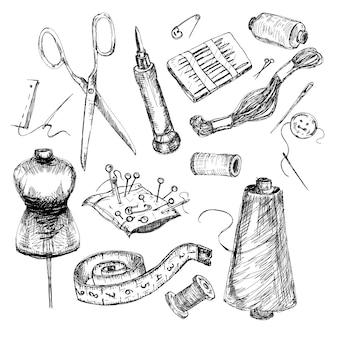 Collezione di strumenti per cucire e per maglieria disegnati a mano altamente dettagliati.