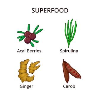 Collezione di super alimenti freschi