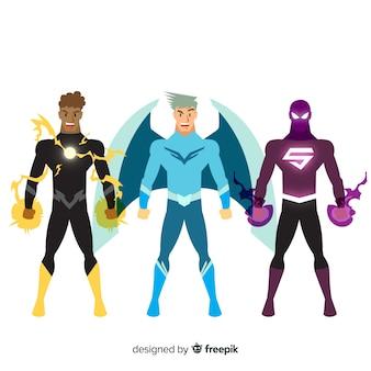 Collezione di supereroi maschili