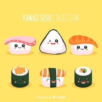 Collezione di sushi adorabile disegnato a mano