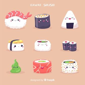 Collezione di sushi disegnata a mano kawaii