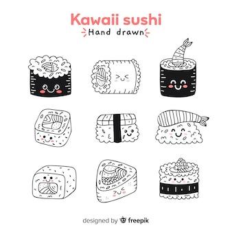 Collezione di sushi disegnati a mano kawaii incolore