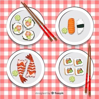 Collezione di sushi disegnato a mano