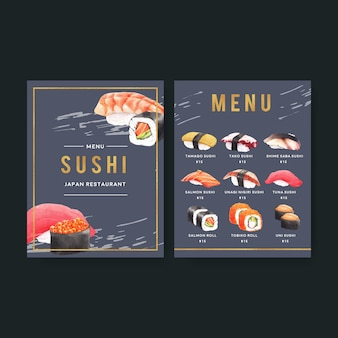 Collezione di sushi giapponese per menu del ristorante.