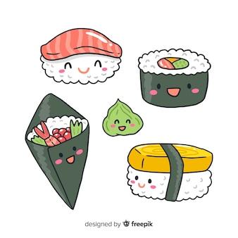 Collezione di sushi kawaii disegnata a mano