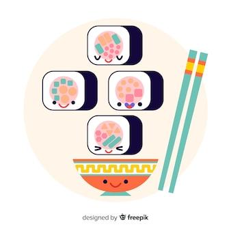 Collezione di sushi kawaii