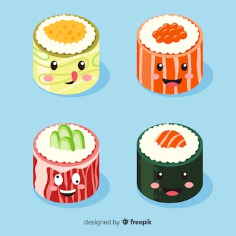 Collezione di sushi sorridente kawaii disegnato a mano