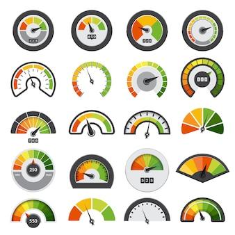 Collezione di tachimetri. simboli del punteggio di velocità che misurano la raccolta degli indici del livello del tachimetro