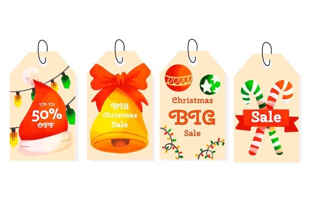 Collezione di tag di vendita di natale dell'acquerello