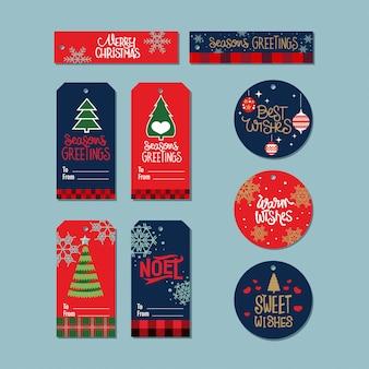 Collezione di tag regalo di natale con citazione