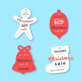 Collezione di tag vendita di natale in stile carta