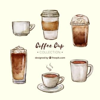 Collezione di tazze da caffè dell'acquerello