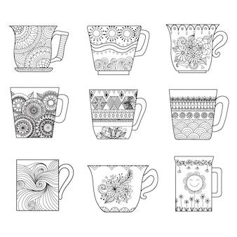 Collezione di tazze disegnate a mano
