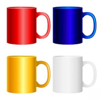 Collezione di tazze su bianco. icone isolate colorate per progetti di design.