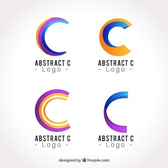 Collezione di template di lettera c logo astratto